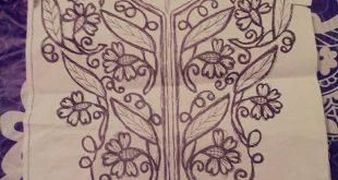 صورة طرز الرباطي باليد للقفطان , نقشات على ملابس النساء تجنن