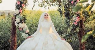 صورة فساتين زفاف تركى للمحجبات , طلي بالابيض المميز ملكة الكون بجمالك