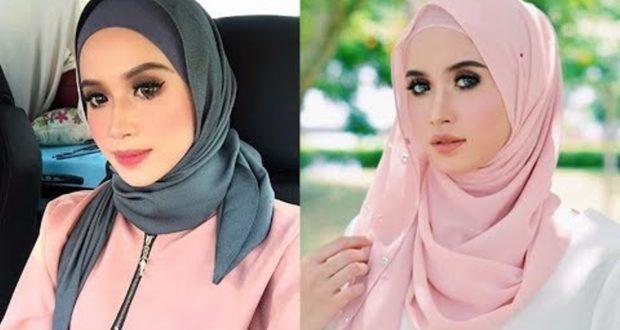 صورة لفات طرح للوجه المدور الممتلئ بالصور , حجاب مبتكر لجميلات الوجه الدائري