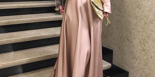 صورة فساتين سواريه ستان للمحجبات 2019 , الستان والشيفون وجمالهم واناقتهم للمحجبات