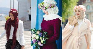 صورة دلعى حجابك باحلى تاج , تاج ورد محجبات
